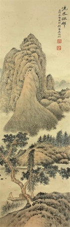 CHINESE SCROLL OF PAINTING MOUNTAINS AND RIVER LANDSCAPE