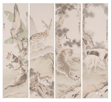 FOUR PANELS OF CHINESE SCROLL PAINTING ANIMALS BY FINE BRUSHWORK