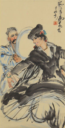 CHINESE SCROLL OF PAINTING DANCING GIRL