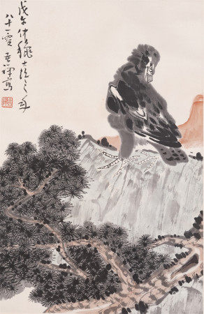A CHINESE PAINTING OF EAGLE AND PINE