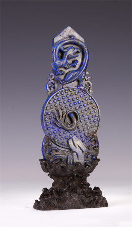 A CHINESE DRAGON PATTERN LAPIS BI ORNAMENTS