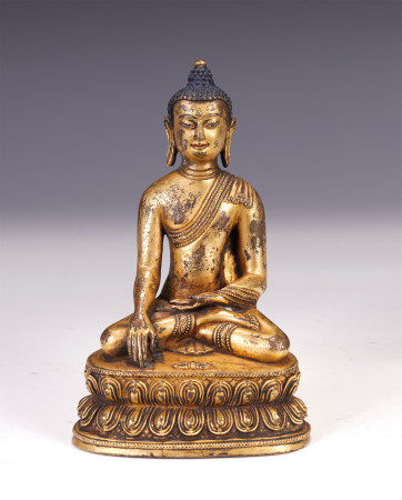 CHINESE GILT BRONZE SAKYAMUNI BUDDHA SEATED STATUE