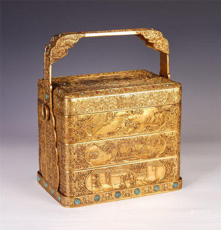 A CHINESE GILT BRONZE CARVED FIGURES STORY MULTILAYER LONG HANDLE BOX