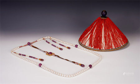 A SET OF CHINESE DONGZHU COURT NECKLACE AND HAT