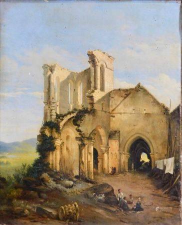 Gabriel MAISON - XIXème s. Église en ruines animée de personnages  Huile sur toile [...]
