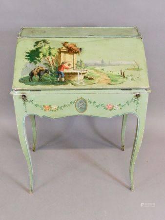 Petit BUREAU de PENTE de dame en bois peint vert amande et décor polychrome de [...]