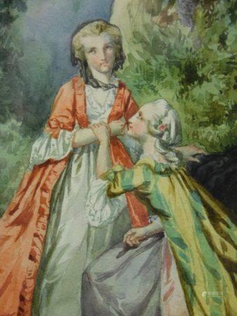 Attribué à Alexandre SOLDÉ (1822-1893) - Élégantes dans un parc Aquarelle. - 21 [...]