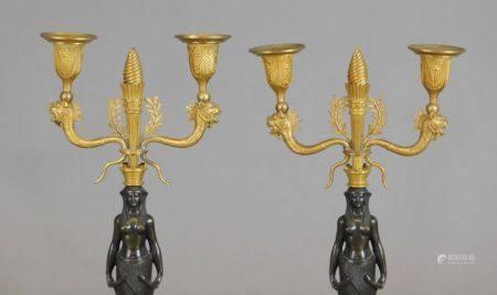 Paire de CANDÉLABRES à deux bras de lumières à têtes de dragons en bronze doré [...]