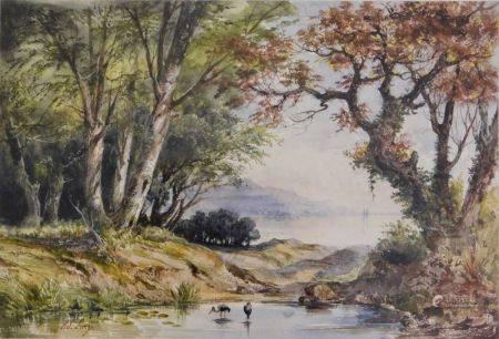 Adrien LUCY (?-1875) - Paysage animé de hérons Aquarelle signée en bas à gauche. [...]