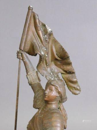 D'après Eugène LAURENT (1832-1898) - Sainte Jeanne d'arc à cheval tenant un [...]