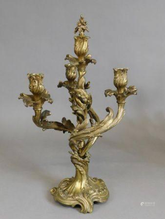 Paire de CANDÉLABRES en bronze naturel à quatre bras de lumières tourmentés et [...]