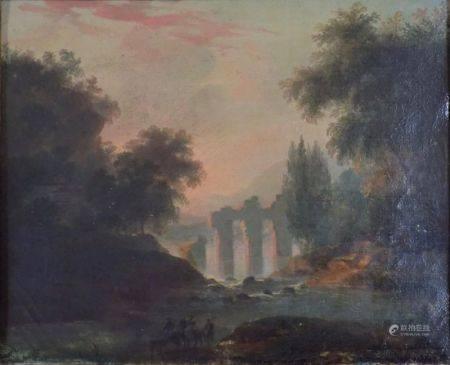 Louis-Claude MALBRANCHE (Caen 1790 – 1838) - Paysage aux ruines antiques.  Sur sa [...]