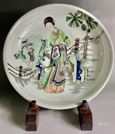 清  康熙五彩母子图盘