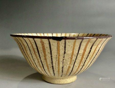 宋  条形纹花纹碗