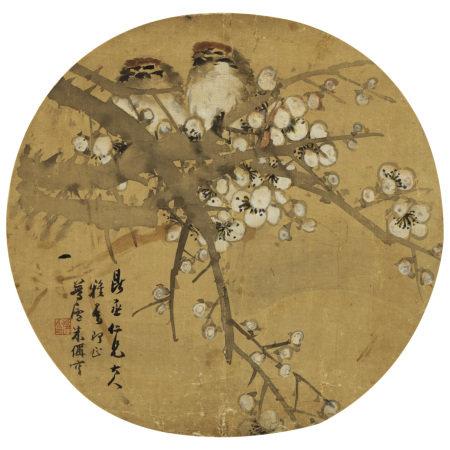 朱偁(1826-1900) 梅枝雙雀圖