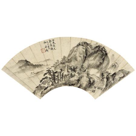 錢瘦鐵(1897-1967) 山水扇面軸