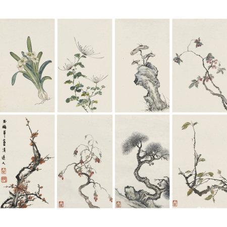 清道人(1867-1920) 草木四屏