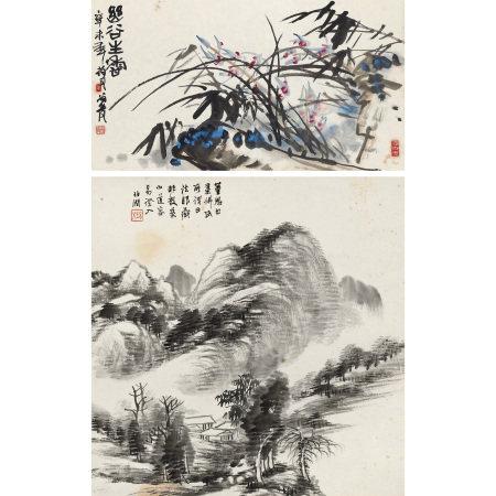 葉尚青(b.1930)、楊伯潤(1837-1911) 花卉山水二屏