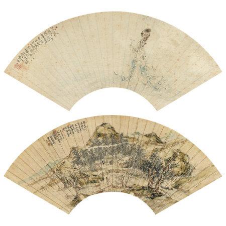 沙馥(1831-1905)、錢楨(清) 淩波仙子、靜坐山林間