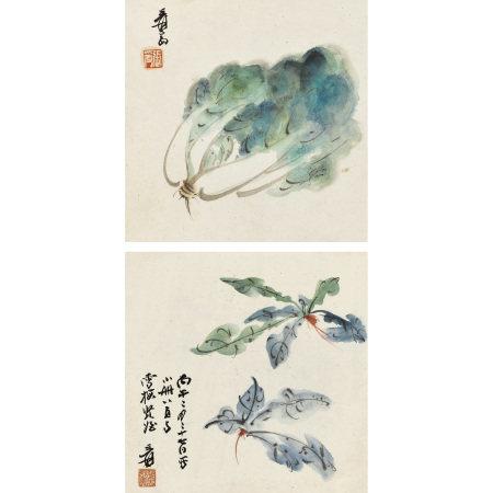 張大千(1899-1983) 白菜、蘿卜