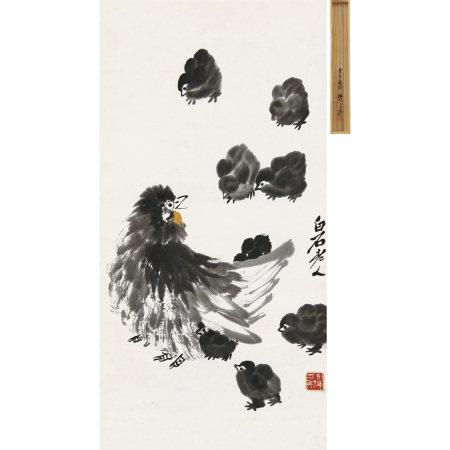 齊白石(1863-1957) 教子圖