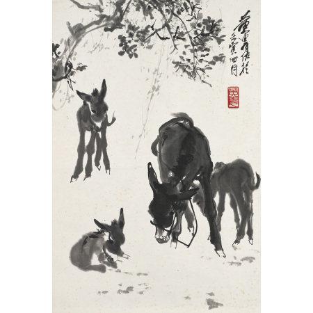 黃胄(1925-1997) 四驢圖