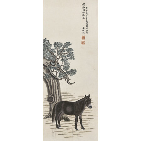 厲毓海(清) 立馬圖