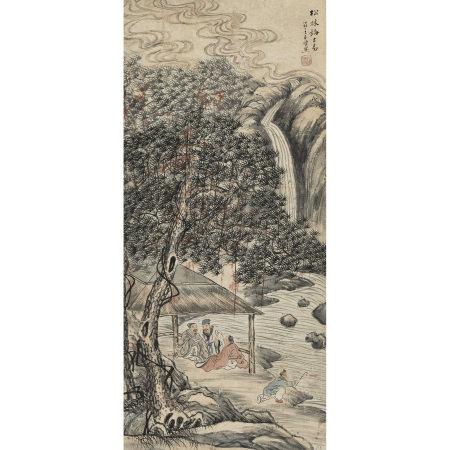王石仙(近代) 松林論古