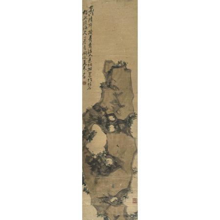 周少白(1806-1876) 蘭石圖