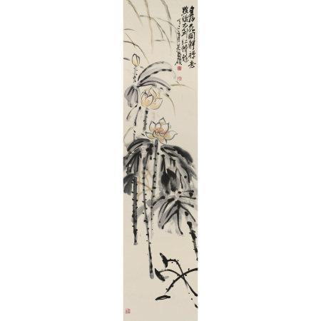 吳昌碩(1844-1927 ) 白荷花開圖