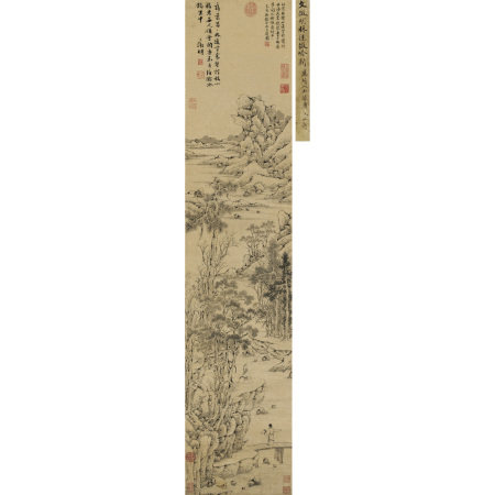 乾隆帝御題、文徵明(1470-1559) 林徑微吟圖