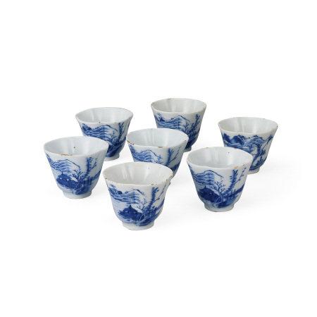 青花煎茶碗7客