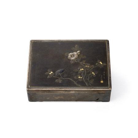 芳山刻四分一金銀象嵌花鳥紋盒