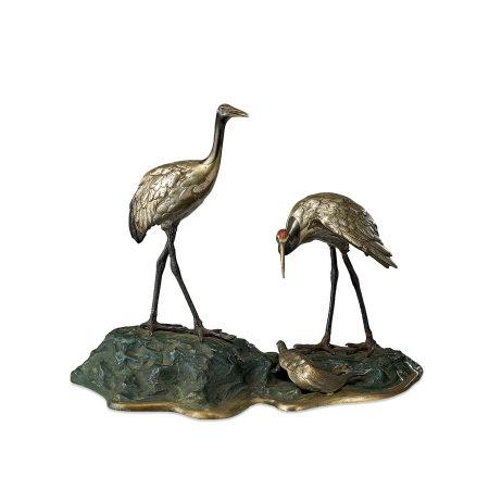 銅雙鶴龜置物