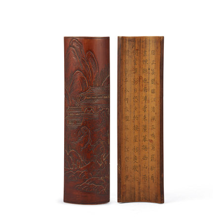 竹製 山水漢詩雕茶量