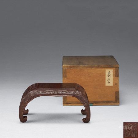 清 錢開榜製竹雕紅漆青銅紋台