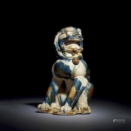 唐代 藍彩獅子
