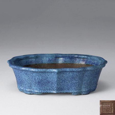 清晚期 紫砂爐鈞釉菱口花盆