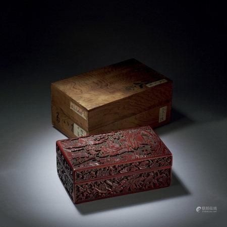 明中期 剔紅松下對弈圖紋四方蓋盒