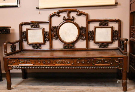 A Marble Inlaid Suanzhi Wood Carved Sofa
