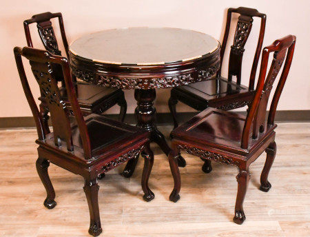 A Set of Hardwood Round Table & 4 Chairs
