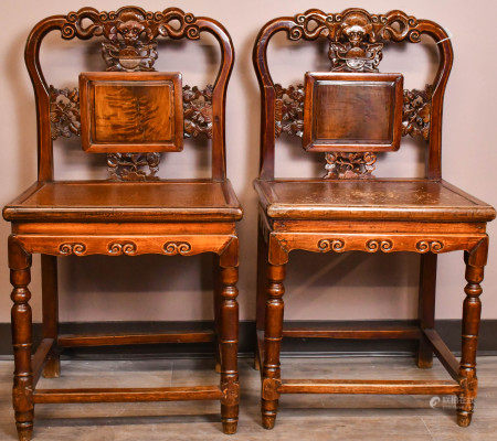 A Pair of Elmwood Chairs, Qing