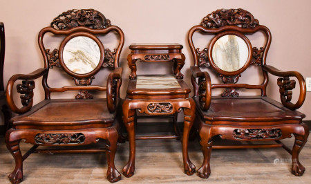 A Pair of Marble Inlaid Grand Master Chairs With A