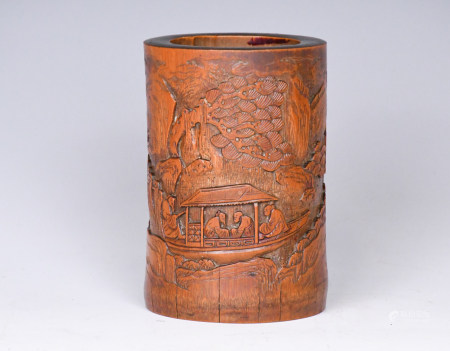 A Chinese Bamboo Carved Figure Brushpot, Qing