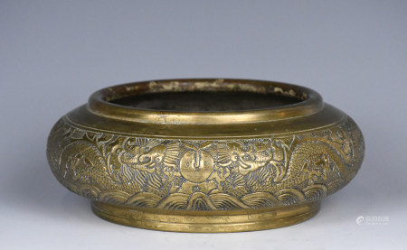 A Bronze Incised Incense Burner Xuande Mk Mid Qing