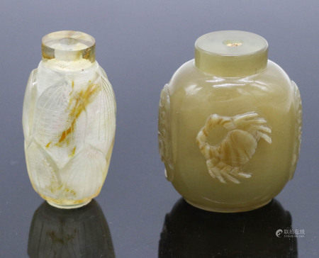 Two Inscribed Crystal, Agate Snuff Bottles, Qing