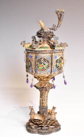 A Silver Gilt Cloisonne Enamel Lantern, 19th C.