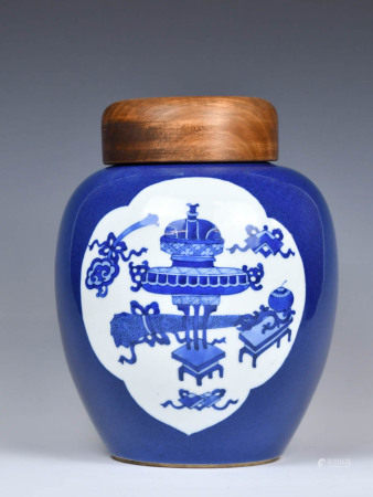 A Blue Glazed Jar and Cover, Qing