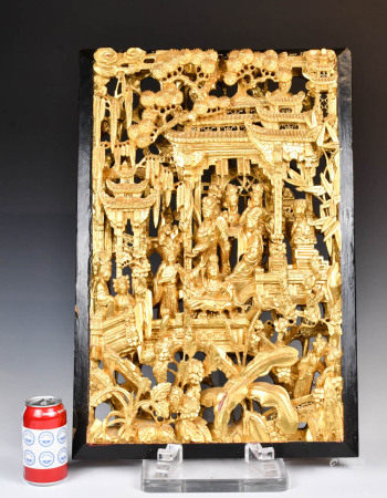 A Chinese Gilt Carved Hanging Panel