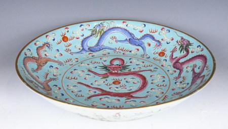 A large Famille-Rose Dish, Jiaqing Mk, Qing